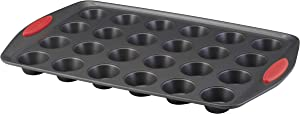 Rachael Ray 47960 24-Cup Oven Lovin' Mini Steel Muffin Pan, Gray with Red Grips