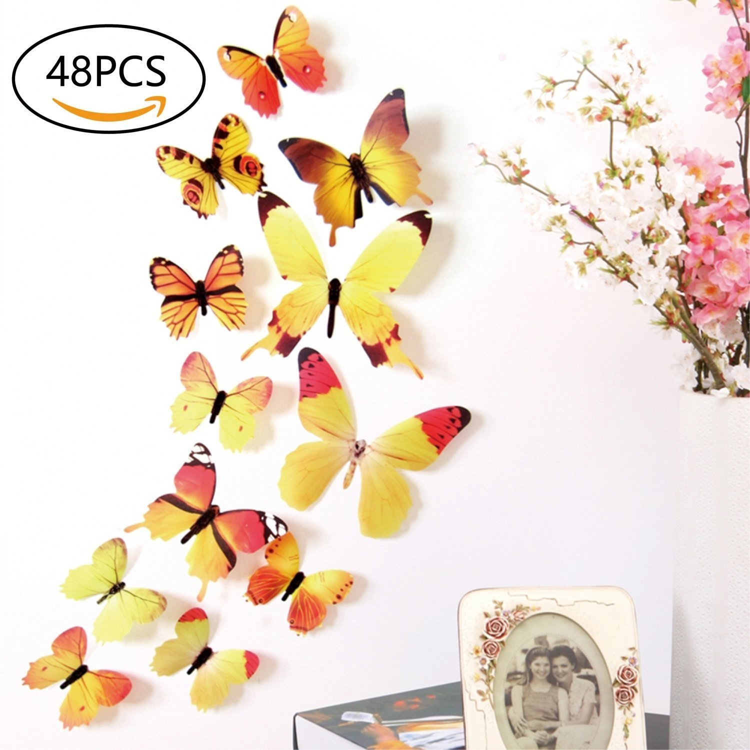 Amazon.com: 48 PCS Removable 3D Butterfly Wall Stickers Decals DIY ...