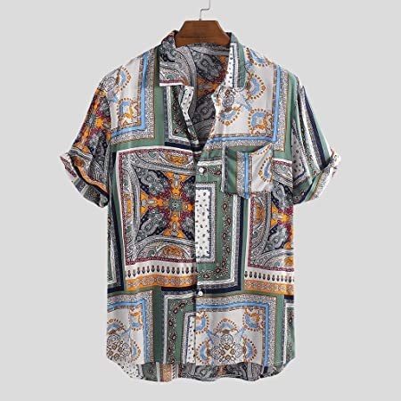 Dragon868 Modelos de explosión Camisas de impresión étnica para Hombres Camisas de Manga Corta