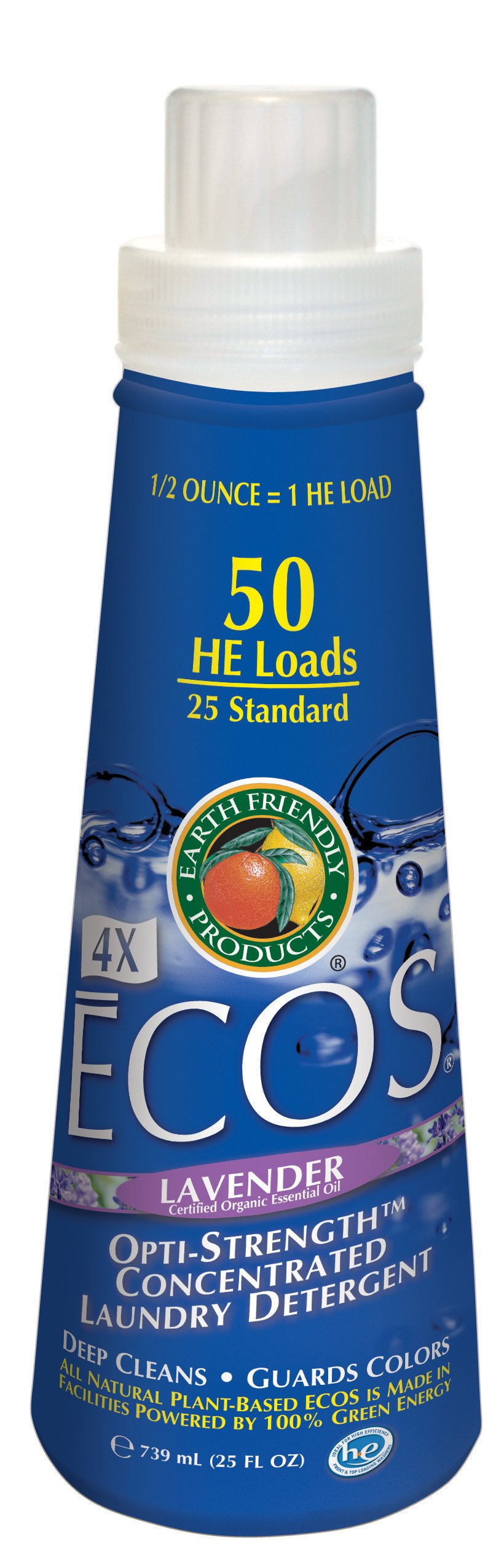 Earth Friendly Products 980006 ECOS 4X Concentrate Lavender Liquid Laundry Detergent, 25 oz Bottle (Case of 6)