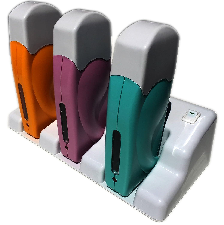 Epilwax S.A.S. - Calentador de cera depilatoria triple, inalámbrico (con base de carga, roll-on de 100ml, para cera desechable) roll-on de 100ml