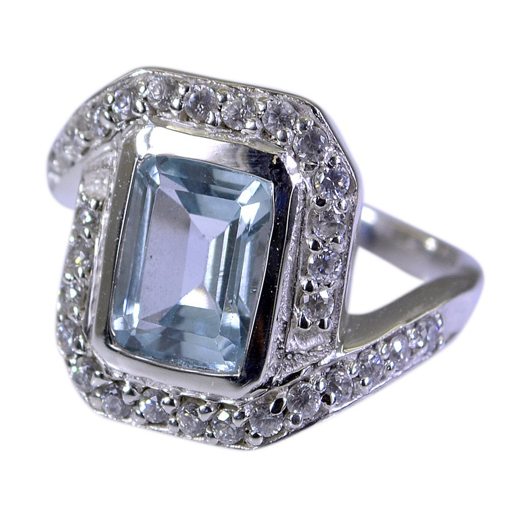 55Carat Natural Blue Topaz Ring With CZ Silver Rectangle Shape Handmade Item Size US 5,6,7,8,9,10,11,12