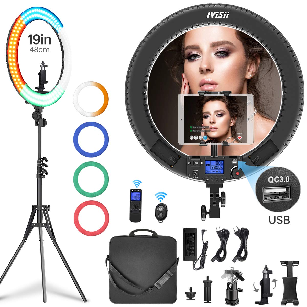 Ring Light with Remote Controller and Stand ipad Holder,Makeup LED Ring Lights 60W Bi-Color 3000K-5800K CRI≥97 & TLCI ≥99 with 4 Color Soft Filters for YouTube, Facebook Live,Twitch and Blogging by IVISII