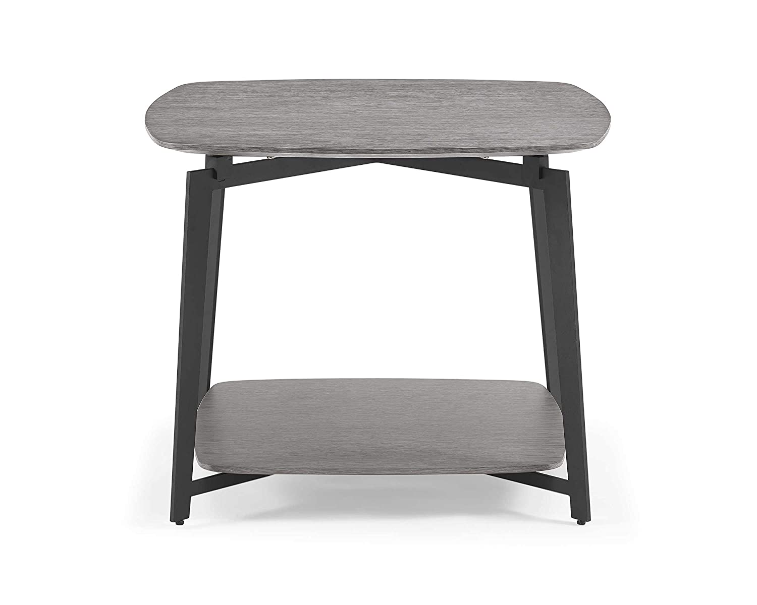 Amazon com homeroots furniture side table gray oak top and panel with black powder coated metal base 320899 kitchen dining