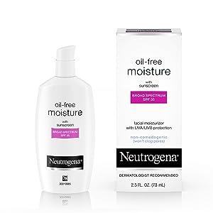 Neutrogena Oil-Free Daily Long Lasting Facial Moisturizer & Neck Cream with SPF 35 Sunscreen & Glycerin, Non-Greasy, Oil-Free & Non-Comedogenic Face Moisturizer, 2.5 fl. oz