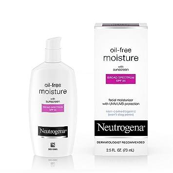 Neutrogena Oil-Free Daily Long Lasting Facial Moisturizer & Neck Cream with SPF 35 Sunscreen & Glycerin, Non-Greasy, Oil-Free & Non-Comedogenic Face Moisturizer, 2.5 fl. oz by Neutrogena