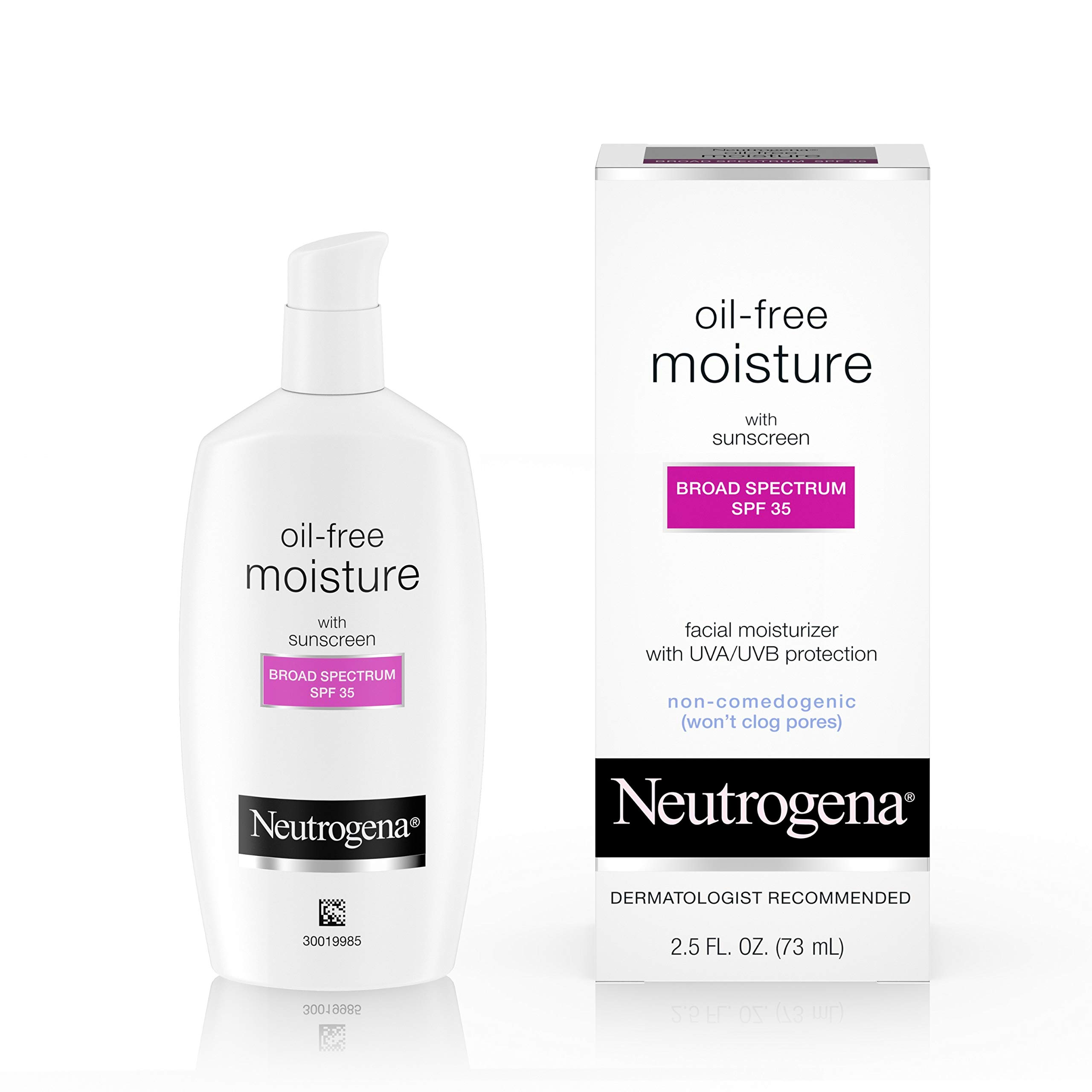 Neutrogena Oil-Free Daily Long Lasting Facial Moisturizer & Neck Cream with SPF 35 Sunscreen & Glycerin, Non-Greasy, Oil-Free & Non-Comedogenic Face Moisturizer, 2.5 fl. oz