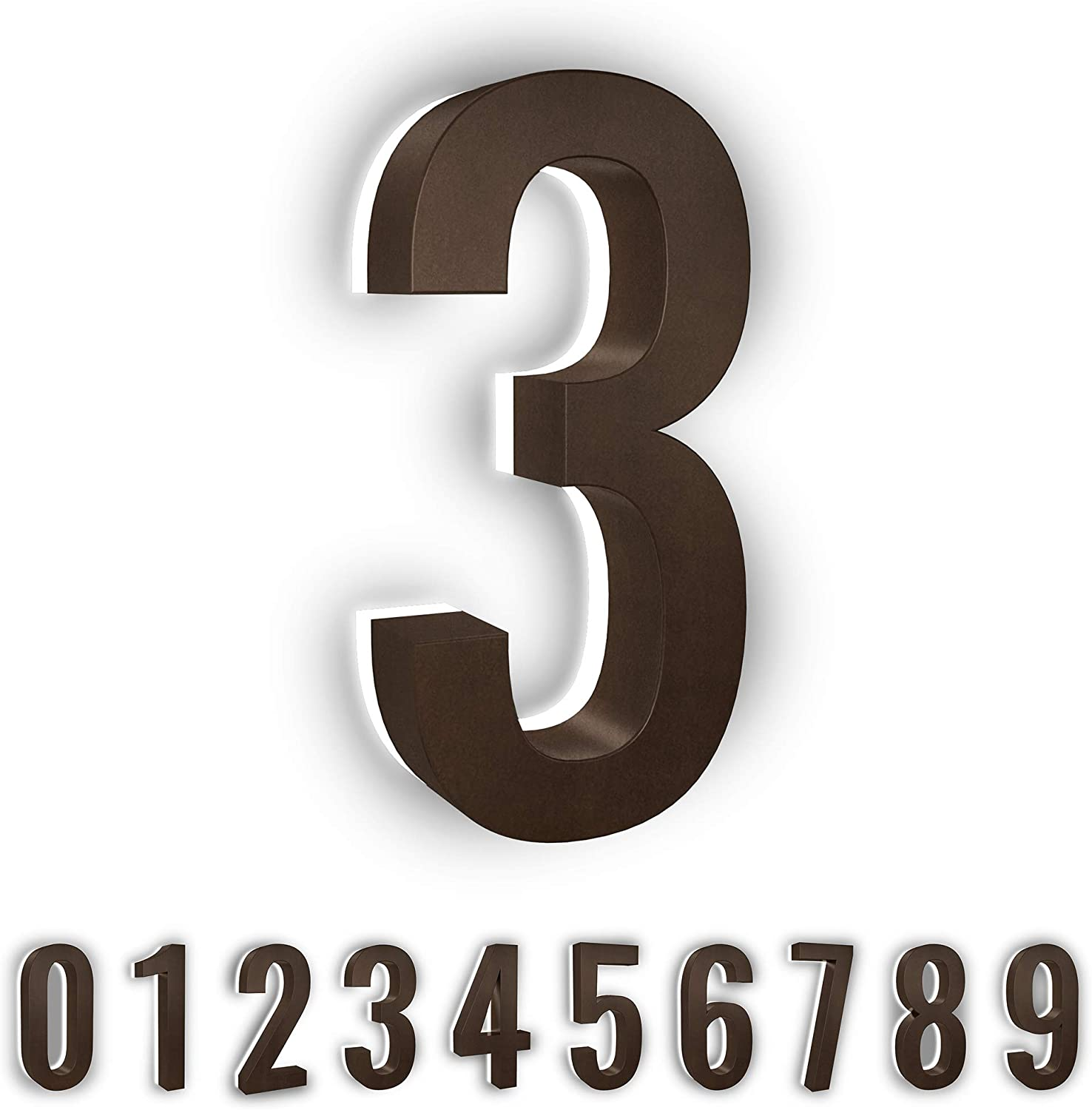 7-Inch Low-Voltage Backlit LED Address Numbers by LN LUMANUMBERS, Durable Brushed Steel Lighted House Numbers, Weather-Proof, Modern Illuminated Floating Numbers (Bronze, 3)