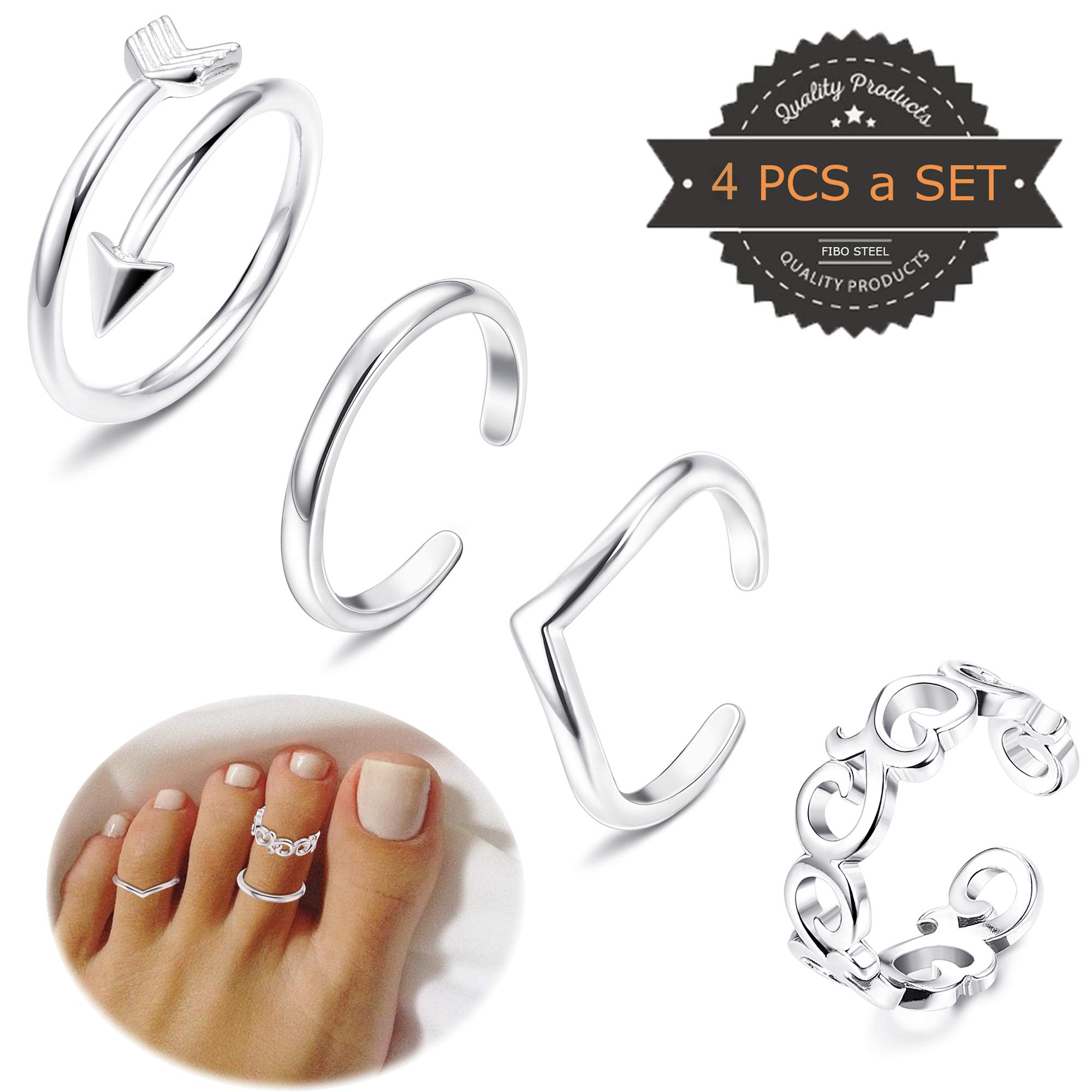 FIBO STEEL 4 Pcs Open Toe Rings for Women Girls Arrow Tail Band Toe Ring Adjustable