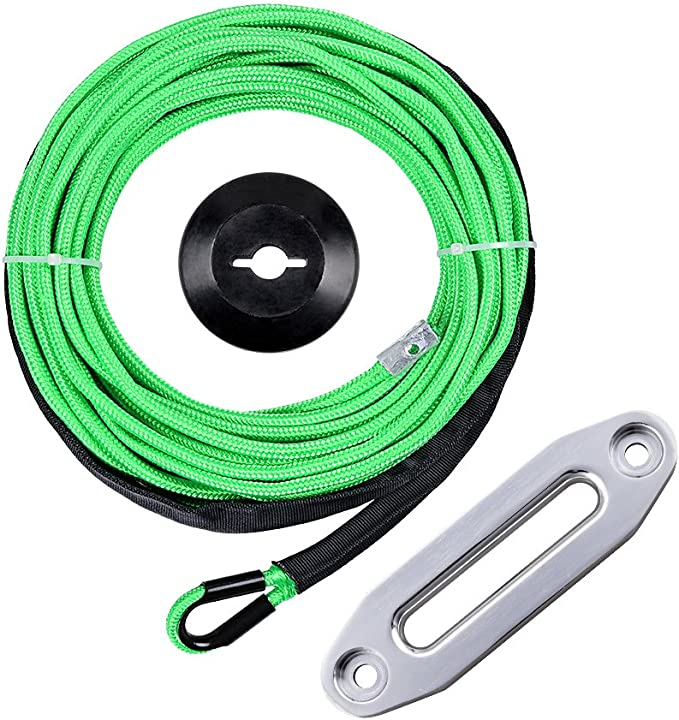 Black CNC Machined 6061 Aluminum Hawse Fairlead 1//4 x 50 Green Synthetic Winch Rope w//Heat Guard Black Rope Stopper