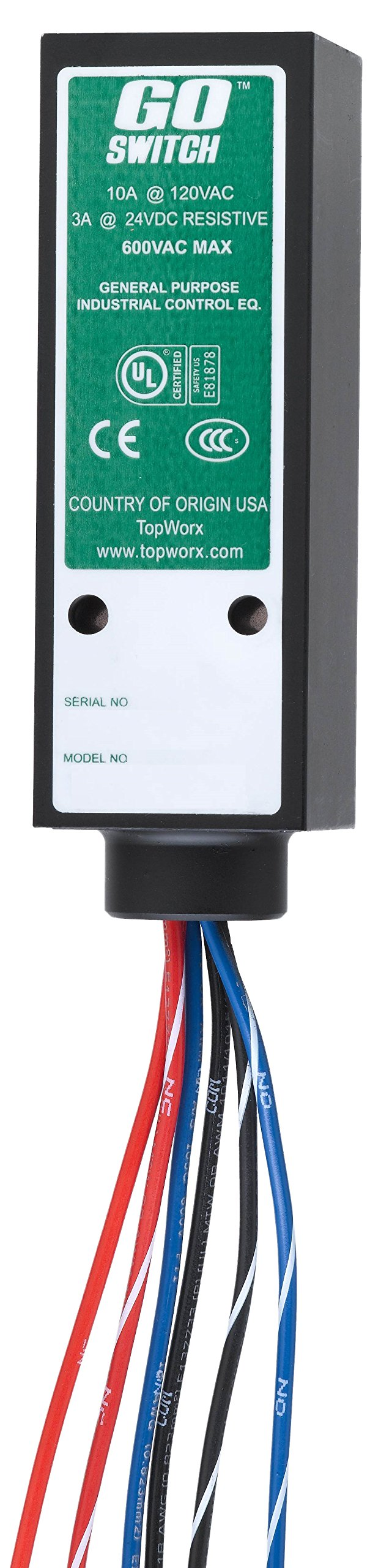 GO Switch 81-20518-A3  SPDT Proximity Sensor, 304 SS 3 Amp/24 VDC, General Purpose, 6 mm Sensing Distance, 10 Amp/120 VAC, Limit Switch Style, 1/2'' NPT Conduit, 6' PVC Lead Wires