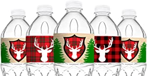 POP parties Woodland Reindeer Bottle Wraps - 20 Lumberjack Water Bottle Labels - Reindeer Lumberjack Camping Decorations - Made in The USA