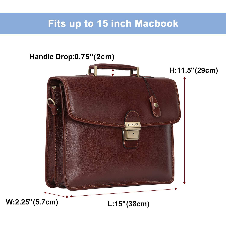 Banuce Vintage Full Grain Leather Briefcase for Men with Lock 14'' Laptop Tote Business Messenger Bag by Banuce (Image #3)
