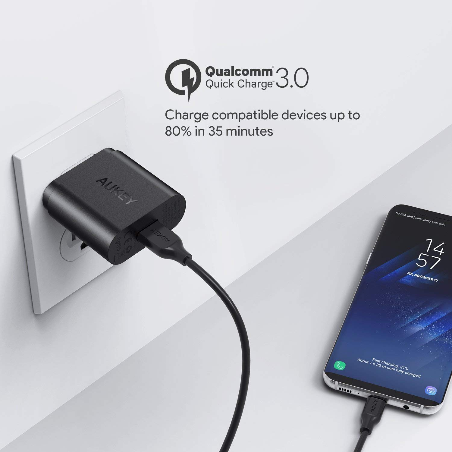 AUKEY Quick Charge 3.0 18W USB Wall Charger, Compatible Samsung Galaxy Note8 / S8 / S8+, LG G6 / V30, HTC 10 and More | Qualcomm Certified