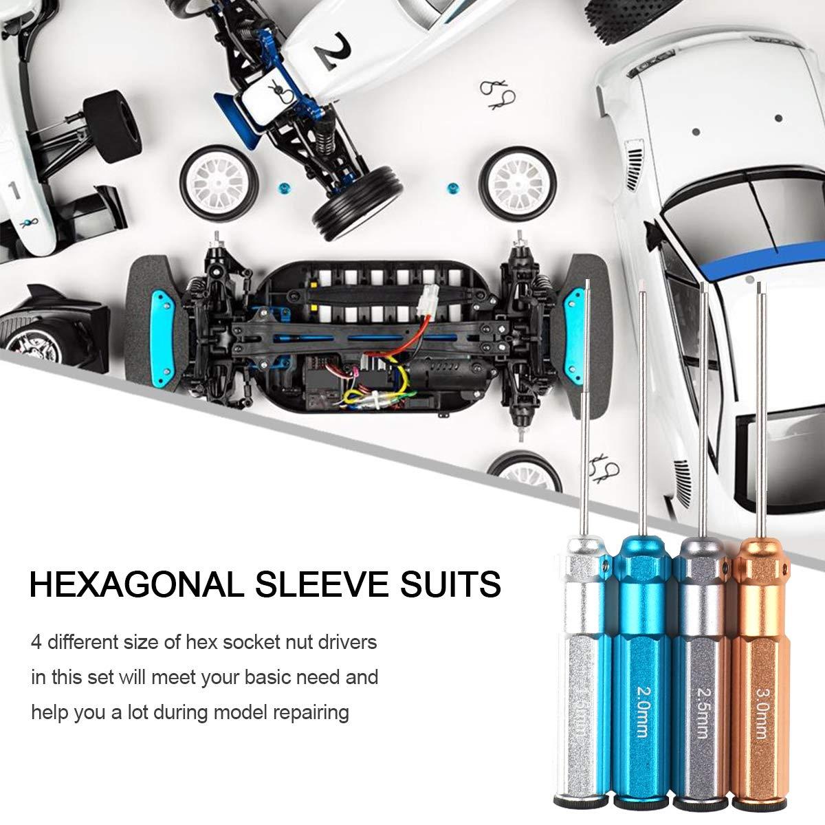 Cacciavite Esagonale 4 pezzi Robotica Cacciavite Esagonale Kit Attrezzi RC 1,5 mm, 2,0 mm, 2,5 mm, 3,0 mm Acciaio Rapido per Modelli RC Ingegneria di precisione Lavoro da banco