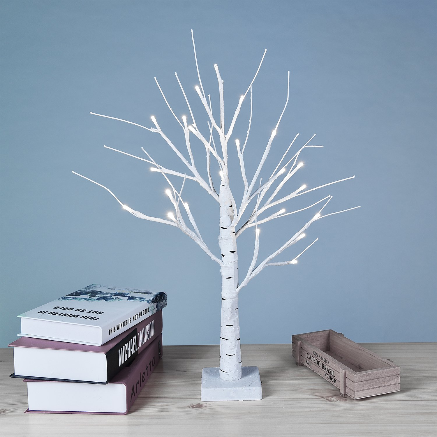 Lightshare Birch Tree 18'' Table Lamp, 24 LED Lights, Warm White, Bonsai Tree For Holiday Décor