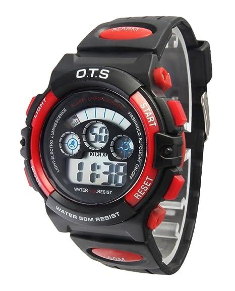 O.T.S - Reloj Digital de Pulsera Deporte 50M Resistente al Agua para Niño Unisex Estudiante Waterproof Wrist Watch - Rojo/Negro: Amazon.es: Relojes