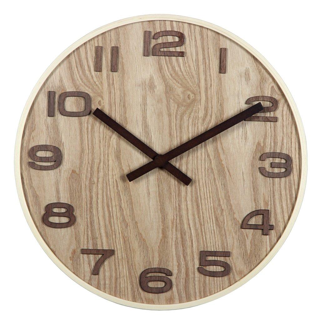 LINGZHIGAN 木製の壁時計ミュートリビングルームオフィス古典的な時計テーブルレトロな中国スタイルのクォーツ時計 (色 : 明色, サイズ さいず : A) B07BVJSMQD A|明色 明色 A