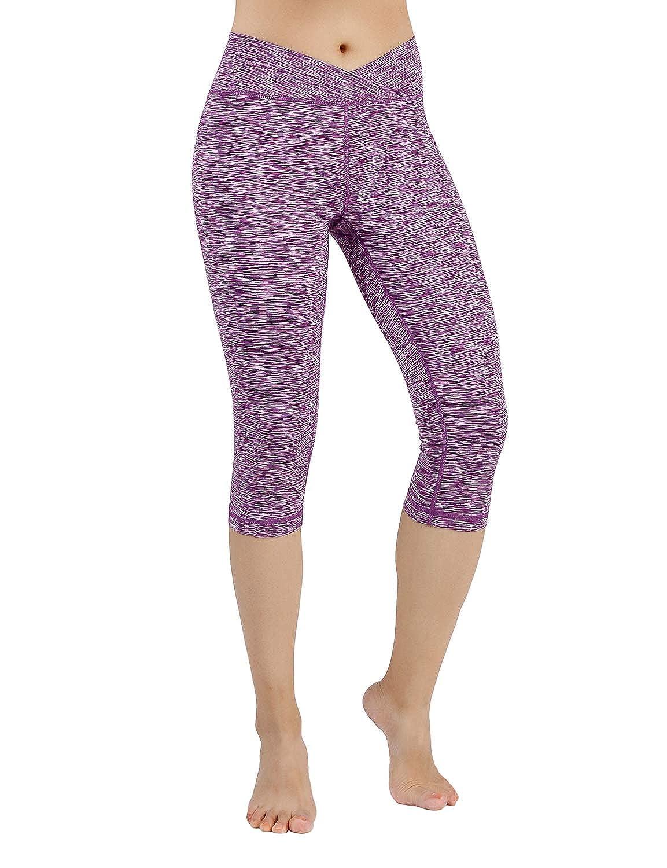 YogaCapris708SpaceDyePurple Medium ODODOS Power Flex Yoga Capris Pants Tummy Control Workout Running 4 Way Stretch Yoga