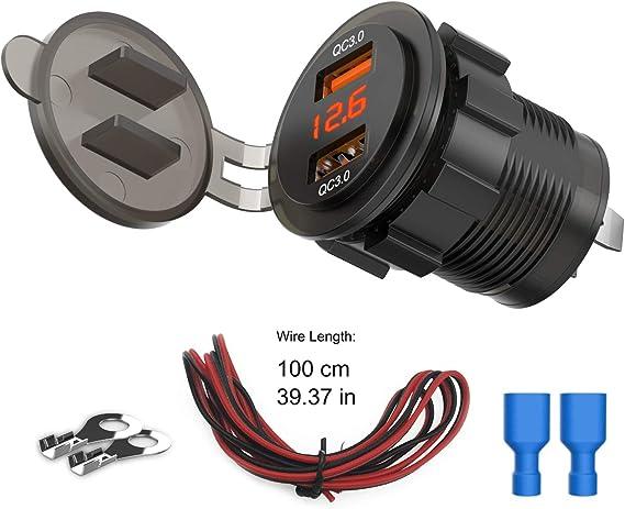 12 V//24 V Cargador de coche carga r/ápida a toda velocidad para iPhone adaptador de metal para coche con pantalla digital LED puerto dual USB 4,8 A iPod volt/ímetro de panel de voltaje iPad