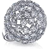Bling Jewelry Pave CZ Dome Cocktail Ring Rhodium Plated