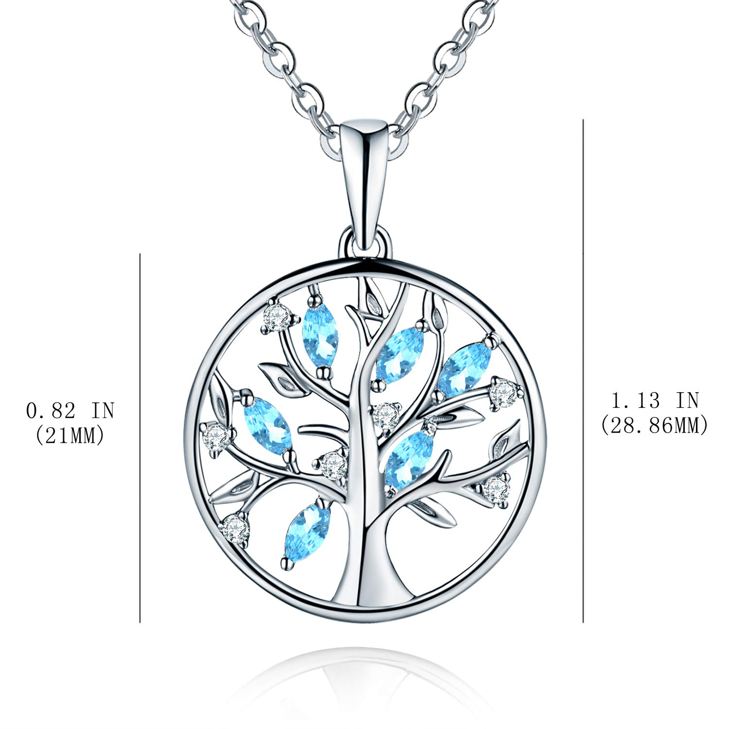 5cf5d7b48 JO WISDOM Tree of Life Necklace,925 Sterling Silver Family Tree Coin  Pendant Necklace (silver, created aquamarine): Amazon.co.uk: Jewellery
