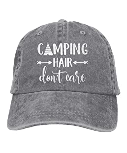 Unisex Camping Hair Don't Care Vintage Adjustable Baseball Cap Denim Dad Hat