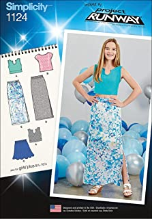 product image for Simplicity Patterns 1124 Girls' and Girls' Plus Tops and Skirts, AA (8-10-12-14-16)