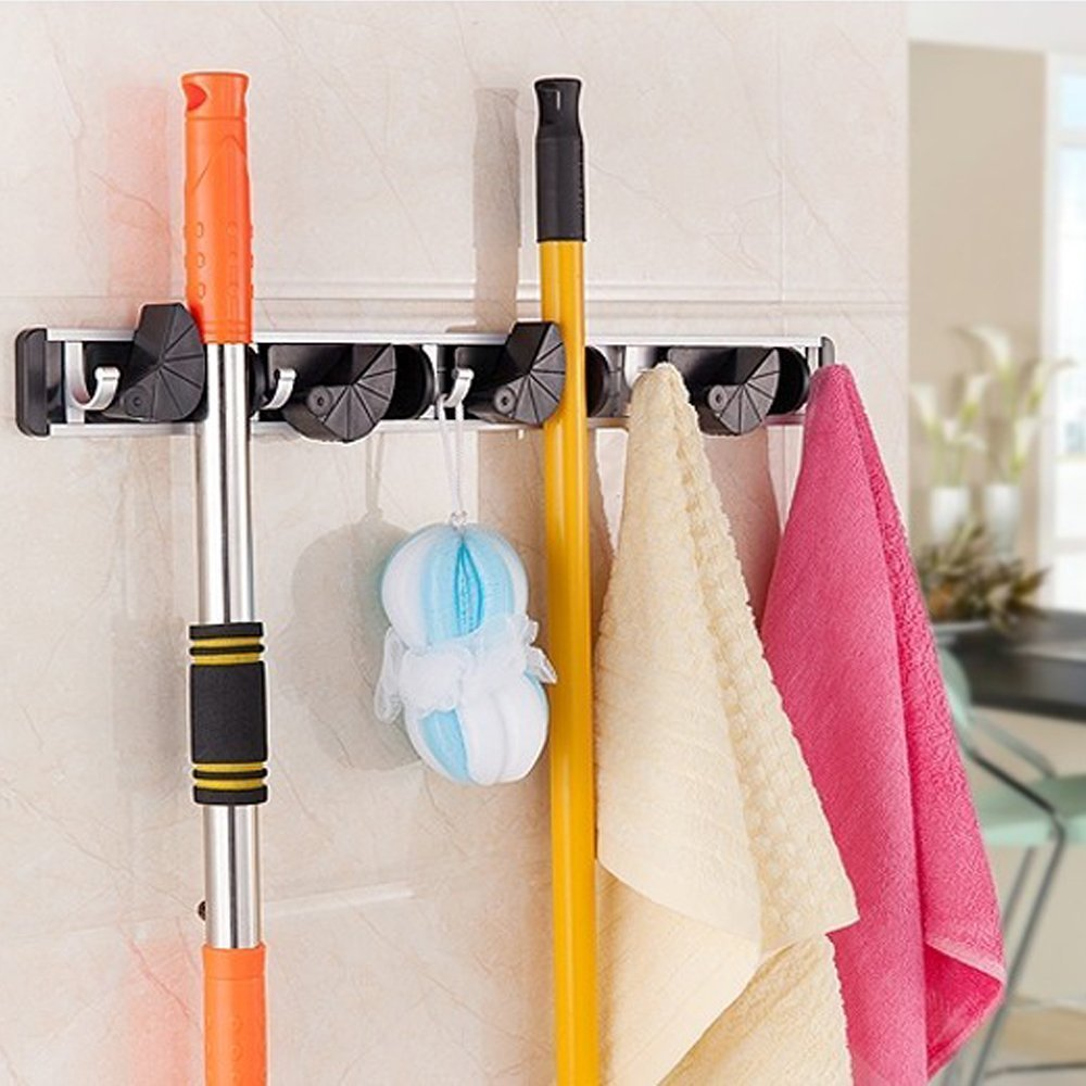 GWHOLE Mop and Broom Holder,4 Position 5 Hooks Wall Mount Rack for Home,Closet,Garden,Garage and Shed