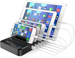 Cell Phone Charging Station Dock for Multiple Devices, 40W/8A, 5-Port USB Charging Organizer, HICITY Fast Charging Docking Station for Cell Phones and Tablets- Black
