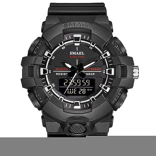 AnazoZ Reloj Multifunción Reloj Deportivo Reloj Impermeable Reloj Quartz Reloj Hombre Relojes Electronicos Negro Blanco: Amazon.es: Relojes