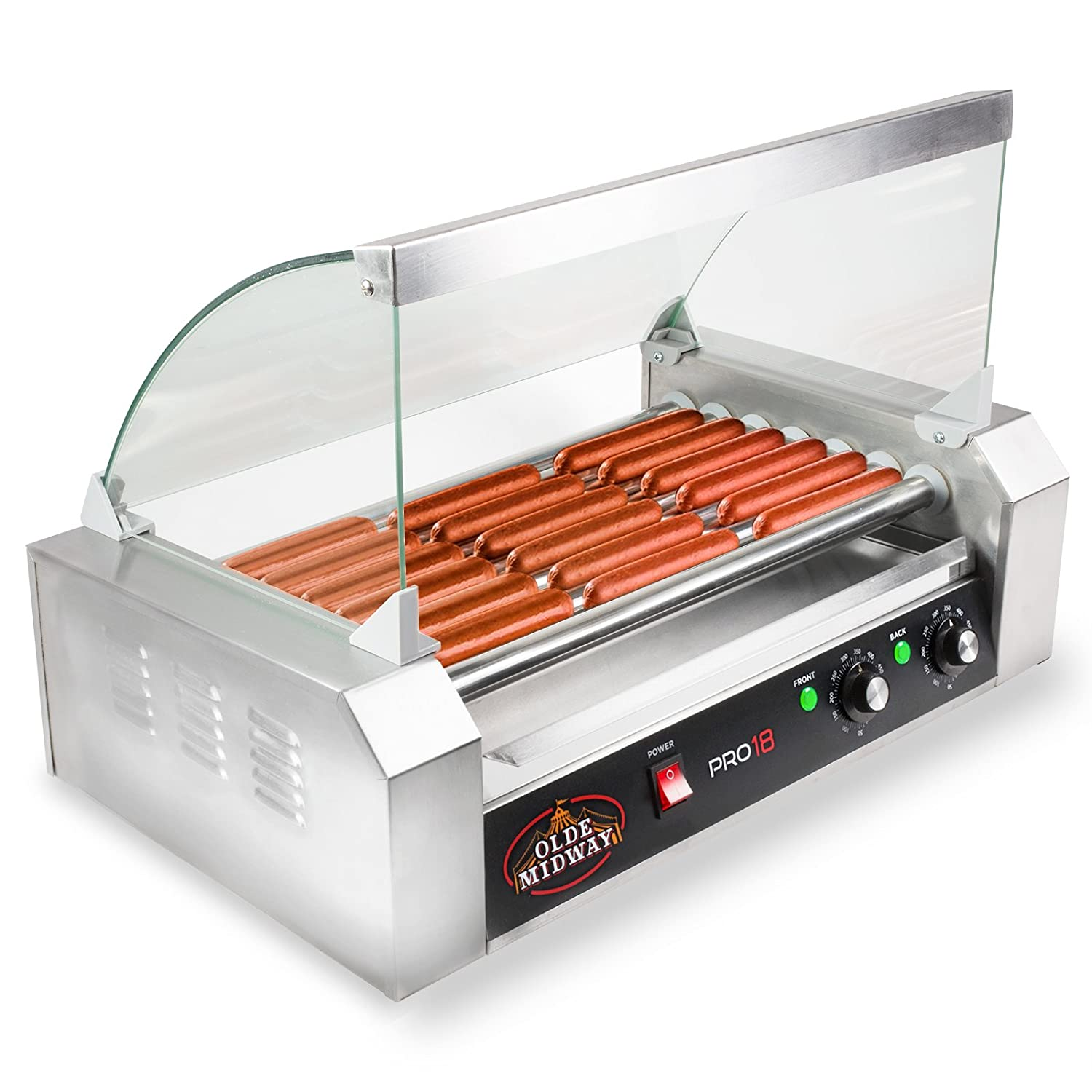 Olde Midway Electric 18 Hot Dog 7 Roller Grill Cooker Machine 900-Watt with Cover - Commercial Grade