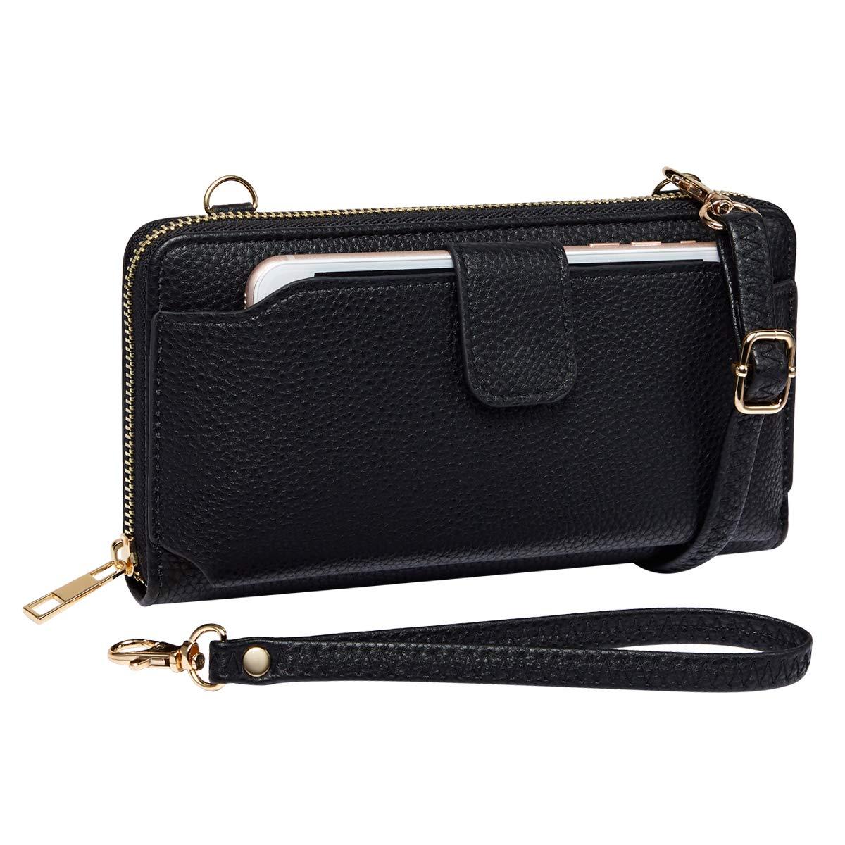 K A Women Purse Wallet RFID Blocking Credit Card Phone Case Wristlet Handbags (Black) by K . A