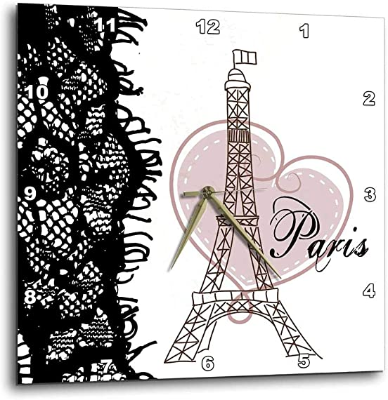 3dRose dpp_162268_1 Paris Eiffel Tower with Heart and Black Lace-Wall Clock, 10 by 10-Inch
