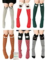 Gellwhu Girl Cartoon Animal Cat Bear Fox Cotton Over Calf Knee High Socks