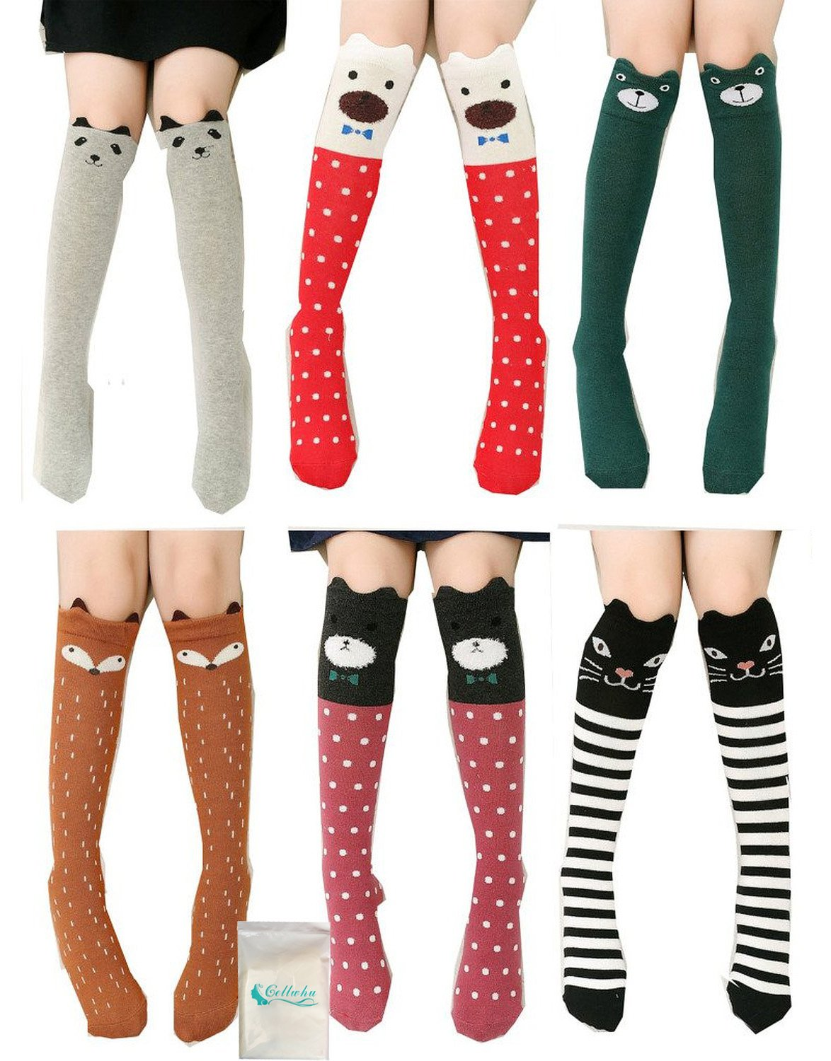 Girls Socks, Gellwhu 6/8 Pairs Cotton Over Calf Knee High Socks Animal Cat Fox Socks (6 Colors)