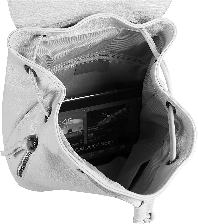 OBC Made IN Italy Damen Echt Leder Rucksack Cityrucksack Lederrucksack Tasche Schultertasche Ledertasche Stadtrucksack Rindsleder Handtasche Daypacks Backpack Hellgrau