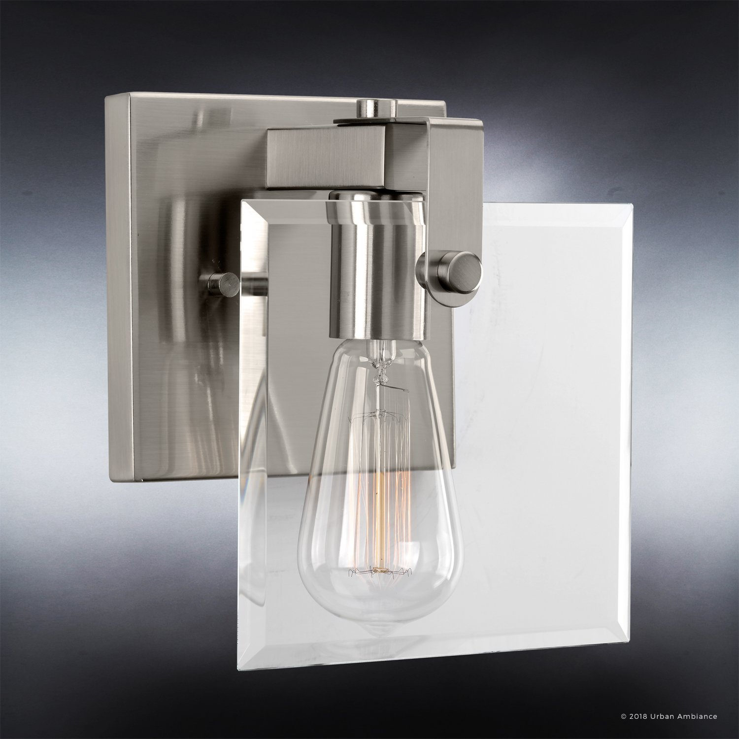 Luxury Modern Farmhouse Bathroom Vanity Light, Small Size 8.38 H x 7 W, with Industrial Chic Style Elements, Brushed Nickel Finish, UHP2455 from The Bristol Collection by Urban Ambiance