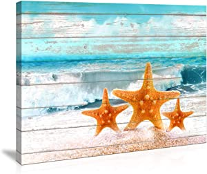 Bathroom Wall Art Board Beach Sea Starfish Wall Decor Bedroom Decor Prints Canvas Wall Art Ocean Decor Small Framed Artwork for Walls Modern Paintings on Canvas Prints (Starfish, 12x16inch)