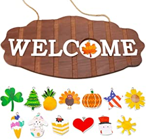 Interchangeable Seasonal Welcome Sign for Front Door Decor, Welcome Signs for Front Porch,Rustic Wood Wall Hanging Porch Decorations for Halloween, Fall, Christmas,America Holiday Home Decorations