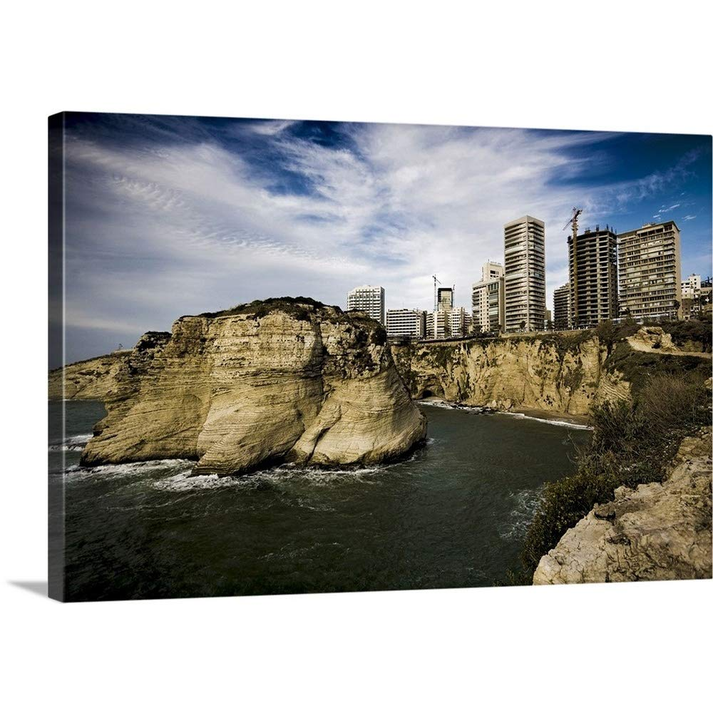 Aldo Pavanプレミアムシックラップキャンバス壁アート印刷題名の崖のレバノン、Bayrut、ビュー、The Rouche 48