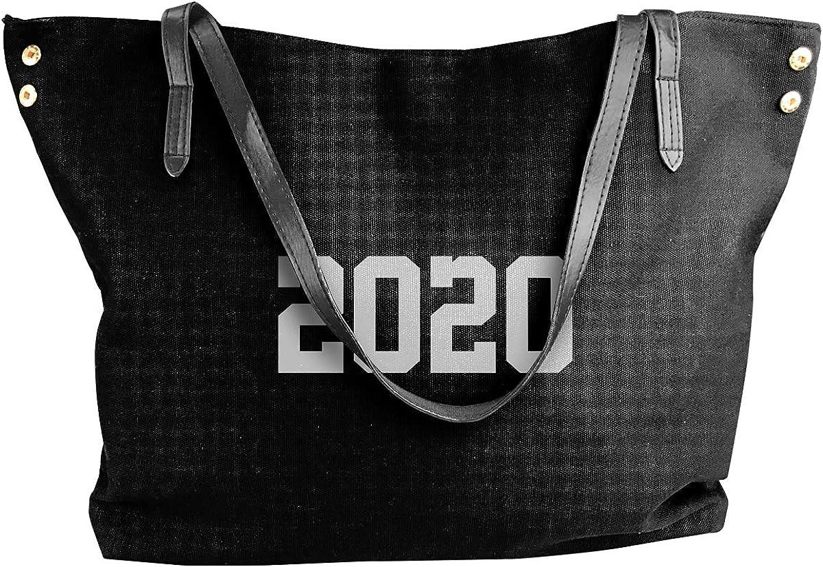 2020 Black Classic Canvas Tote Bag Large Women Casual Shoulder Bag Handbag