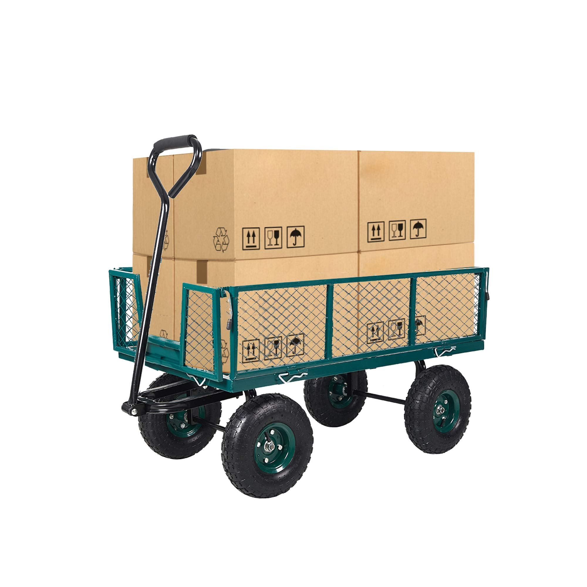 Dporticus Four-Wheel Trailer Large Folding Wagon Side Cart 560lbs Load Capacity, Handling Truck Pull for Outdoor Garden Warehouse Beach