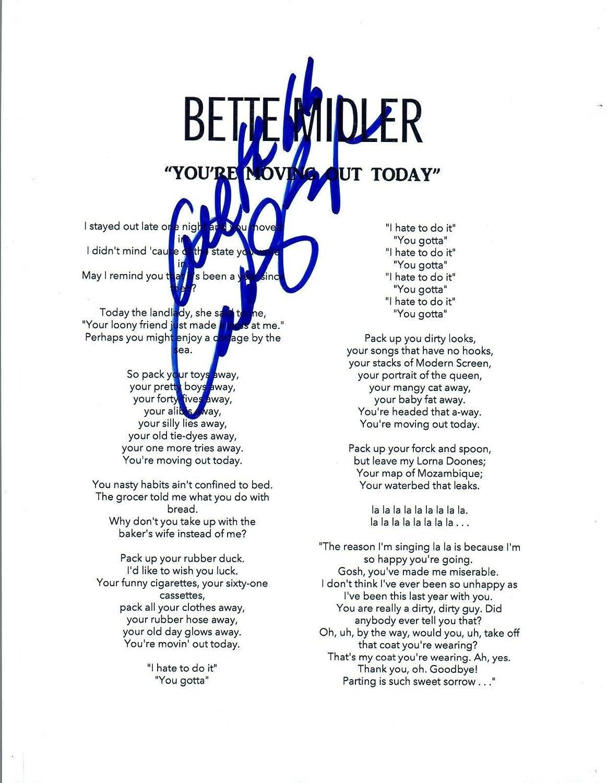 Carole Bayer Sager Signed Bette Midler