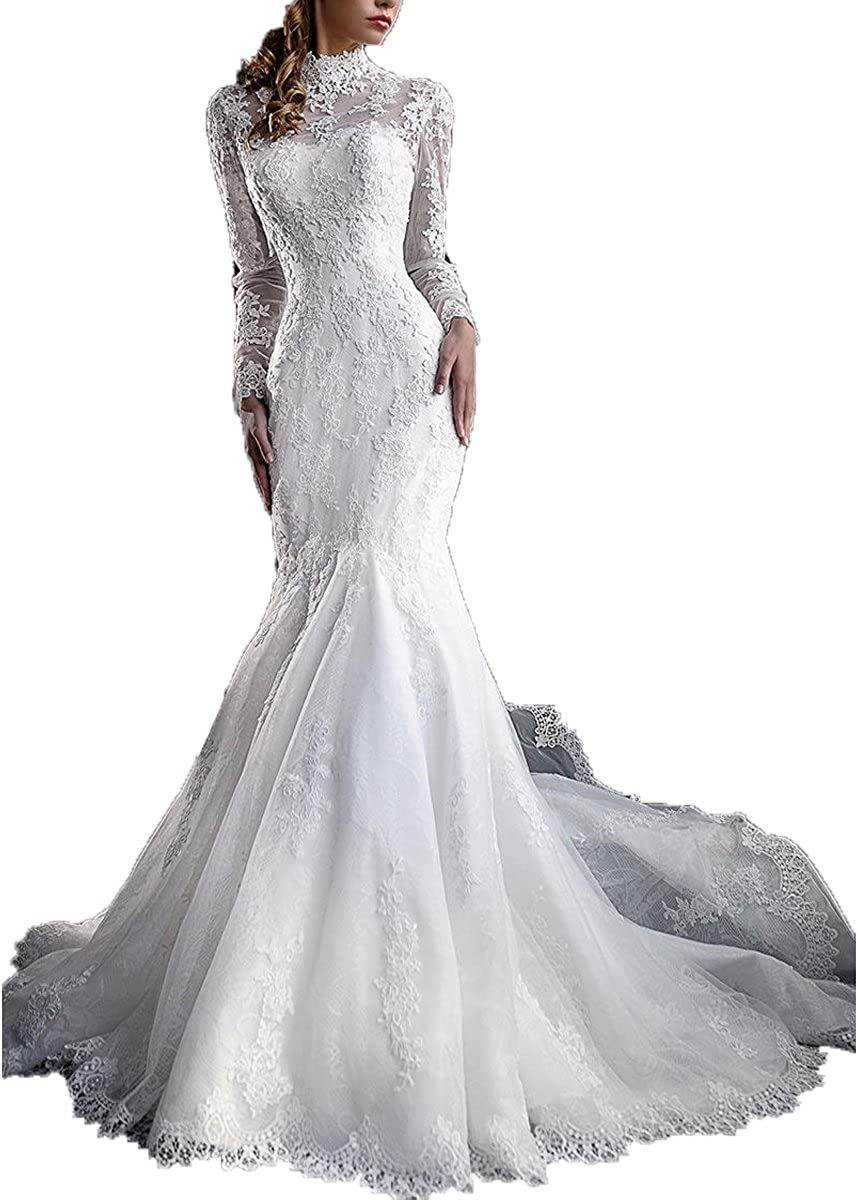 Yuxin Women S High Neck Lace Mermaid Wedding Dress 2020 Elegant Long Sleeves Appliques Bridal Gowns At Amazon Women S Clothing Store