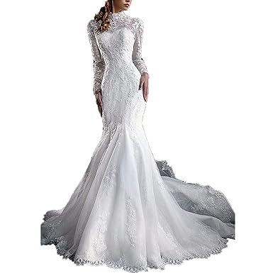 0b13fdec284 Yuxin Women s High Neck Lace Mermaid Wedding Dress 2018 Elegant Long Sleeves  Appliques Bridal Gowns Ivory
