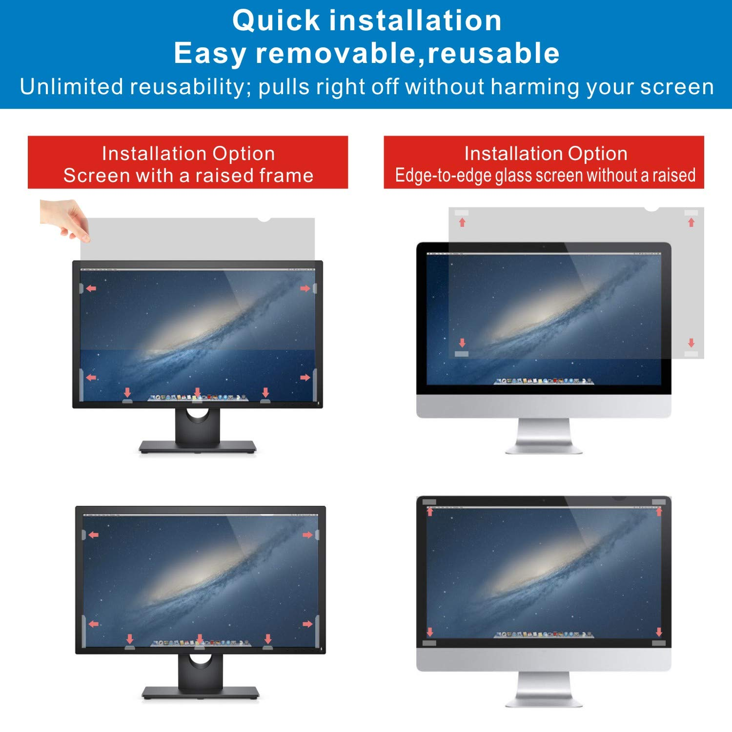 Accgonon Computer Privacy Screen Filters for 25-inch Widescreen(16:9) Monitor Privacy Screen Protector,Anti-Glare Anti-Spy Anti-Blue Scratch and UV Protection,Easy Install by ACCGONON (Image #4)