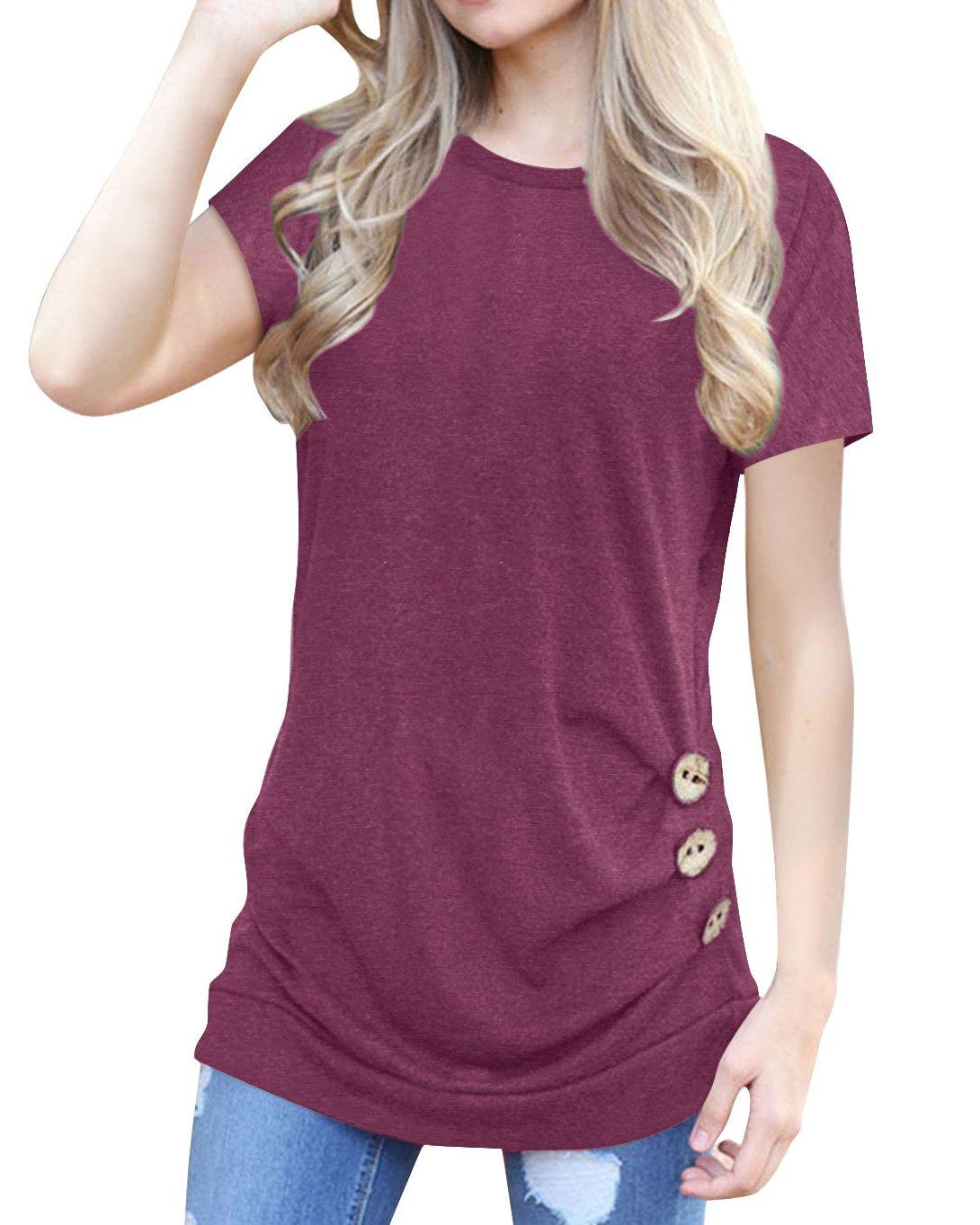 Women's Casual Short Sleeve Tunic Top Sweatshirt Blouse Button Decor T-Shirt Wine Red XL