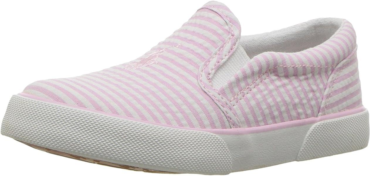 2ea395184 Polo Ralph Lauren Kids Girls' BAL Harbour II Sneaker, Light Pink Striped  Seersucker,
