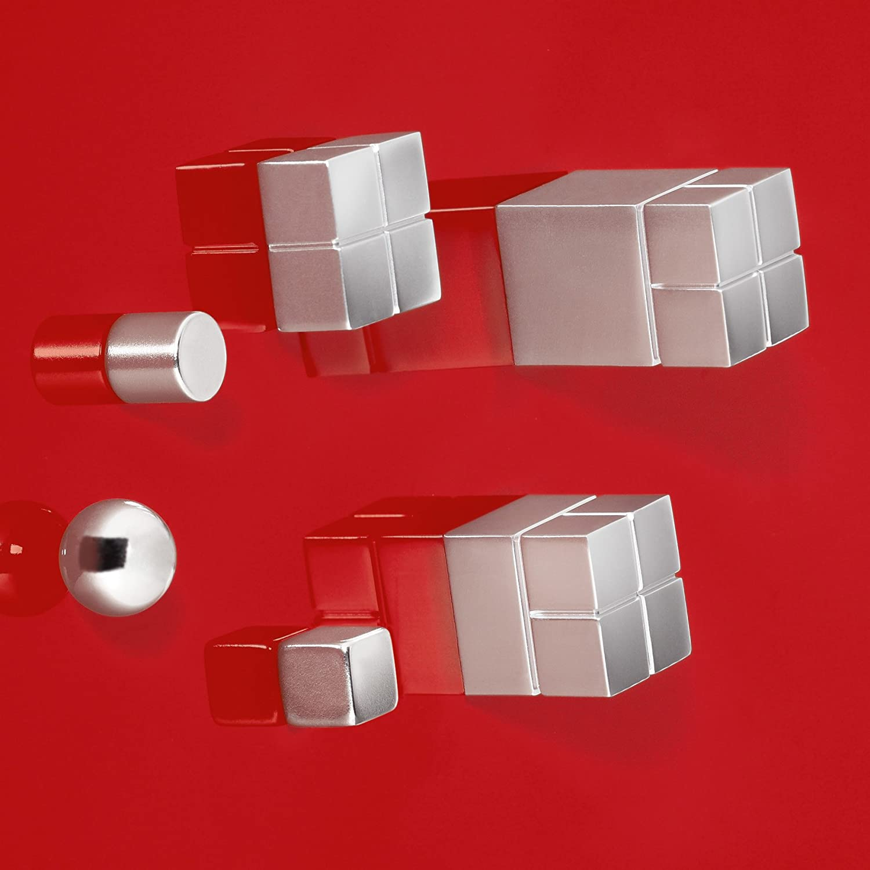 10 pz. a forma di cubo color argento Sigel GL193 Magneti SuperDym artverum per lavagne magnetiche di vetro